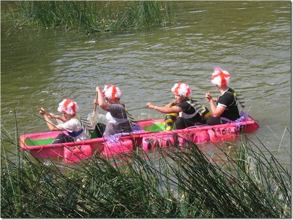 Raft race on the River Stour